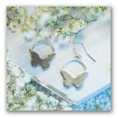 Butterfly earrings, circle earrings, light earrings, gift for her, butterfly, unique earri... $36