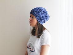 Men Dark Blue hat slouchy beanie Unisex Womens Men Hat Knit Blue Beanie Winter Chunky Hat Ready To Ship