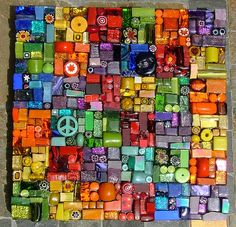 """Rainbow Mosaic Rainbow Mosaic 6""""x6"""" A mosaic just filled with color and texture. Made with beads, millefiori, smalti, glitter tiles, colorfusion tiles, glass rods, tiny tiles, van gogh glass, mirror tile."""