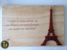 Cuadro Torre Eiffel, #Lahileria #torre eiffel #eiffel tower #hilo #decoracion #decor #decoration #home #hogar #casa #quotes #original #arte #string art #hilorama https://www.pinterest.com/hileria/