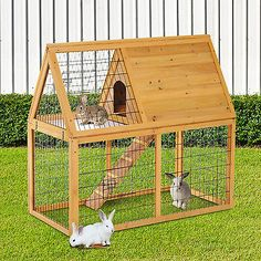 2-tier Wooden Rabbit Hutch Pet Animal Bunny Cage Chicken Hen Coop Habitat W/Run
