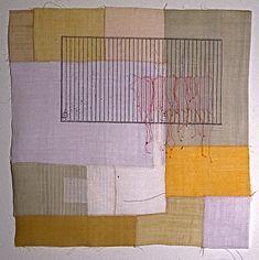 "'bojagi square 2'  2004  17"" x 17"" ramie, hemp, silk organza, natural dyes, silkscreen printing, machine & hand stitching"