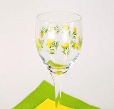 Painted Wine Glasses - Lemon Yellow Roses, Set of 6, Elegant, Original Design Glassware - Hand Painted Glassware