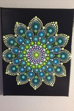 Hand Painted Mandala on Canvas, Meditation Mandala, Calming, Healing, #482 by MafaStones on Etsy