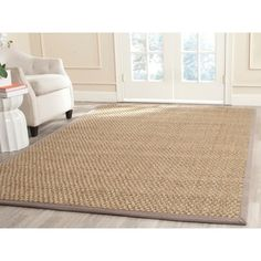 safavieh casual natural fiber natural and grey border seagrass rug 6u0027 x 9u0027 by safavieh - Seagrass Rug