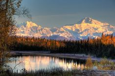 """Landscape photography wall art - """"View of southside Mount McKinley and Mount Hunter at Sunrise"""" by Mike Criss available at Great BIG Canvas. Canvas Wall Art, Wall Art Prints, Framed Prints, Canvas Prints, Big Canvas, Scenery Pictures, Best Sunset, Landscaping Software, Alaska"""