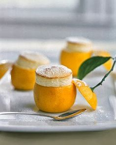 Little Lemon Souffles - Use a melon baller or serrated grapefruit spoon to scoop out the rinds..