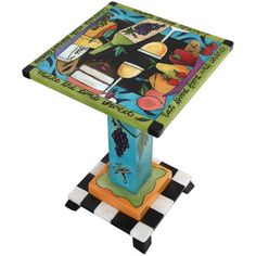 """Sticks creates this artistic one-of-a-kind Martini Table MAR006-S315040, constructed of hard wood. Hand drawn whimsical designs are burnt in, and then painted. * Size: 16""""D. x 16""""W. x 24""""H. Anything y"""