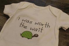newborn cute bodysuit   i was worth the wait slogan  by moyobaby, $12.00