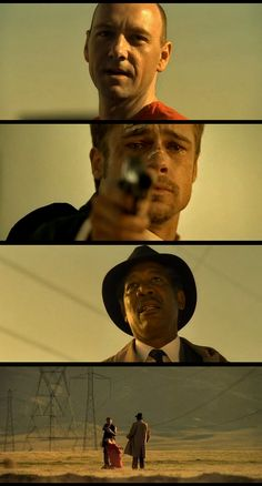 Se7en, 1995 (dir. David Fincher) Thriller film starring Brad Pitt and Morgan Freeman. The newly transferred David Mills (Pitt) and the soon-to-retire William Somerset (Freeman) are homicide detectives who become deeply involved in the case of a sadistic serial killer whose meticulously planned murders correspond to the seven deadly sins: gluttony, greed, sloth, wrath, pride, lust, and envy.