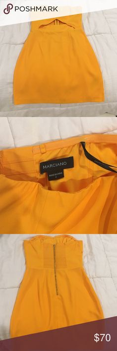 """Guess Marciano yellow dress Worn once no flaws!!! Like new length 25"""" Guess by Marciano Dresses Mini"""