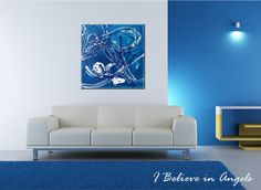 I Believe in Angels abstract painting original from Denise Beaupré 16x16 (image may not be to scale)