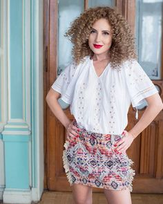 Delicate and ethereal, this exquisite ethnic blouse seduces with the alluring brilliance of natural silk, masterfully embroidered on white cotton fabric. Piece Of Clothing, Clothing Items, Folk Embroidery, Four Leaf Clover, Peasant Blouse, Elegant Outfit, Handmade Clothes, Traditional Outfits, Boho Chic