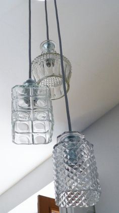 Decanter cealing light upcycled lamp decanter by ViaLucis on Etsy, €205.00