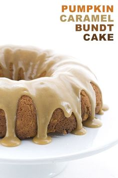 All the best flavors of fall in this delicious low carb Pumpkin Spice Bundt Cake with a sugar-free caramel glaze. Grain-free and keto friendly.  Wait! Stop what you are doing immediately. Drop everything and pay attention. This is big. This is huge. This is momentous! Do you know what this is? Do you realize the importance of this moment? Are you ready? Are you sure you're ready? Are you sure you're sure? Because this, my friends, THIS is the first new pumpkin recipe of season! Phew! ...
