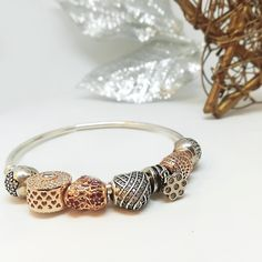 Silver bracelet with rose gold and white gold decorations! Χρυσό Ροζ 5c4f67740b8