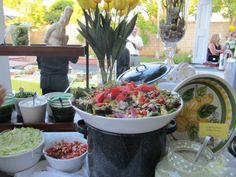 taco bar menu ideas | Fresh Ideas Catering Blog: A Perfect Surprise Birthday-Taco Party Taco Bar Menu, Taco Bar Party, Salad Presentation, Surprise Birthday, Birthday Ideas, Seafood Salad, Reception Food, Food For A Crowd, Food Plating