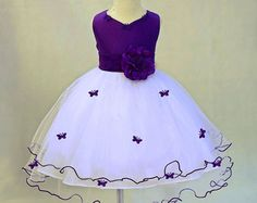 White Lilac Flower Girl butterflies tulle dress by ekidsbridalusa