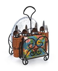 Amazon.com: Outdoor Entertaining Willow Utensil Flatware & Dish Caddy Holder: Kitchen & Dining