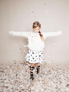 Huge sweater and print skirt white feel tween fashion