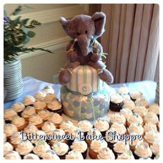 Teddy Bear Baby Shower Cake and matching cupcakes - Bittersweet Bake Shoppe - Tyngsboro, Massachusetts