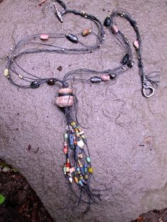 Rustic Urban Talisman Necklace with Ancient Beads and Pre Columbian Spindle Whorl free shipping
