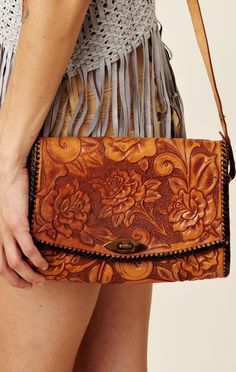 Tooled light brown leather bag - shoulder bag - crossbody bag ...