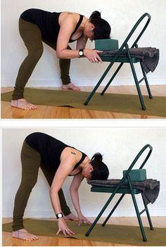 Yoga chair – wide leg fold – Iyengar Yoga – Famous Last Words Iyengar Yoga, Ashtanga Yoga, Fitness Workout For Women, Yoga Fitness, Pregnancy Yoga Poses, Chair Yoga, Beanbag Chair, Wall Yoga, Yoga Moves