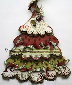 this site is in german the scrapbook papers in this tree are from the christmas delight line from little yellow bicycle and the tree is embellished with