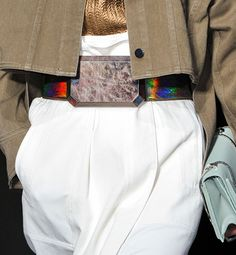25 Unusual Outfit Details From Fashion Month: An iridescent belt with an oversize stone buckle hinted at 3.1 Phillip Lim's futuristic theme.