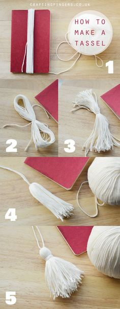 Diy tassel light pull crafting fingers how to make yarn tassels for home decor Diy Tassel Earrings, Diy Tassel Garland, Wood Bead Garland, Beaded Garland, Tassles Diy, Pom Pom Crafts, Yarn Crafts, Deco Dyi, Diy Niños Manualidades