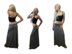 striped maxi falda, black crop top
