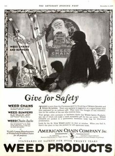 1924 American Chain Company ad for tire chains. Bring on the snow! The Saturday Evening Post.