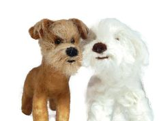 Personalised Wedding cake topper TWO of your pets recreated