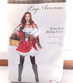 New Leg Avenue Rebel Red Riding Hood Medium Dress Costume #LegAvenue #CompleteOutfit