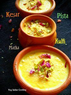 Kesar Pista Matka Kulfi Kulfi Recipe, Indian Sweets, Sweets Recipes, Cheeseburger Chowder, Places, Homemade, Lugares, Diy Crafts, Hand Made