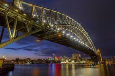 Sydney Harbour Bridge at night by joe0112 http://ift.tt/1NRMbNv