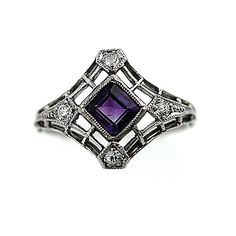 Antique Platinum Amethyst Old European Cut Diamond Engagement Ring Circa Early 1900's
