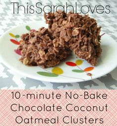 10 Minute, No Bake, Chocolate Coconut Oatmeal Clusters | This Sarah Loves