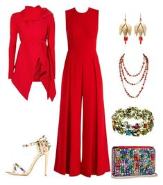 """Red Jumpsuit"" by lily0906 ❤ liked on Polyvore featuring Emilia Wickstead, Annette Ferdinandsen, Christian Louboutin and Gareth Pugh"
