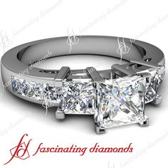 2 Ct Princess Cut Diamond Modern Style Three Stone Engagement Ring Channel Set | eBay