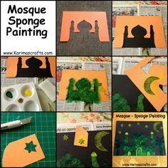 mosque sponge painting Ramadan Crafts Islamic Muslim
