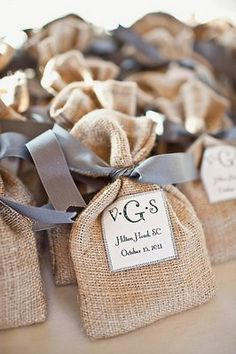 Guest goodie bags in burlap sacks