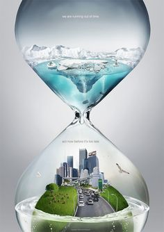 This is an amazing visual metaphor whereby we see what the dangers for earth in hour glass. From the idea of the hour glass we are able to see that it reflects timeline and this metaphor is used in a simply and clearly way to show how will be going if people continuing on their own way.