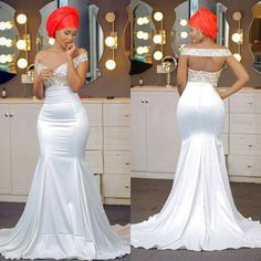 Off The Shoulder Mermaid Prom Dresses Beaded Backless Satin Backless Aso Ebi African Prom Dresses Sweep Train Evening Dresses Diyanu - Aso Ebi Styles African Prom Dresses, African Wedding Dress, Prom Dresses For Sale, African Fashion Dresses, Dream Wedding Dresses, African Dress, Wedding Gowns, Arab Wedding, African Attire