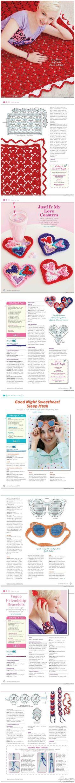 Posavasos tres corazones al crochet. Varios diagramas de trabajos tejidos en la pagina.