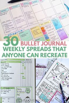 The most used page: BULLET JOURNAL WEEKLY SPREAD. Don't get bored with the same layout! A huge collection of the most functional, creative weekly bujo planner set ups, from simple one page minimalist templates to colorful, ultra detailed logs with doodles and washi. Customize: at a glance calendar, vertical / horizontal daily / weekly / month schedule, goals / tasks tracker, easy to do list, other ideas. Conquer time management, whether you're a high school / college student or busy mom