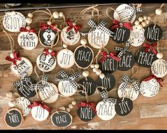 Rae Dunn Inspired Glass Ornaments Set of 9 Santa's Reindeer Names Christmas Tree ornaments cute Rudolf Harry Potter Christmas Decorations, Clay Christmas Decorations, Christmas Ornament Crafts, Christmas Wood, Homemade Christmas, Holiday Crafts, Etsy Christmas, Plaid Christmas, Wooden Ornaments