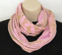 Hand Printed Pink and Green Splatter Infinity Scarf  Looking for something different? This is it. A beautiful pink circle scarf scarf with hand printed green splatter. Fun and unique! You will not find another scarf like this- One of a kind!    The perfect accent piece for your fall/winter wardrobe.