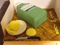Gordons gin bottle cake Gin And Tonic Cake, Gordon's Gin, 70th Birthday Cake, Bottle Cake, Gin Bottles, Let Them Eat Cake, Cake Decorating, Lunch Box, 70 Birthday Cake